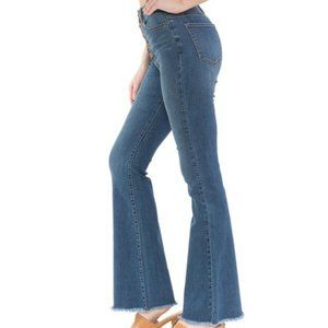 High Rise Button Fly Flare, Stretchy Denim